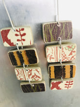 Load image into Gallery viewer, Mixed Cinnamon & Chocolate Rectangles Recycled Book Cover Earrings
