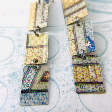 Mixed Islamic Patterns Upcycled Rectangles Tin Earrings