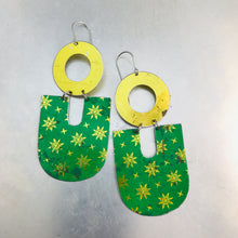 Load image into Gallery viewer, Gold & Green Chunky Horseshoes Zero Waste Tin Earrings