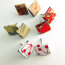 Load image into Gallery viewer, Japanese Kanji Folded Square Upcycled Tin Post Earrings