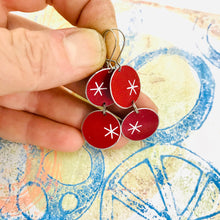 Load image into Gallery viewer, White Asterisks on Red Circles Tin Earrings