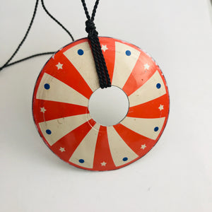 Vintage Carnival Upcycled Tin Circle Necklace