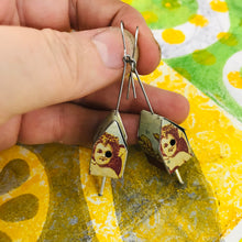 Load image into Gallery viewer, Sweet Face Tiny Tin Birdhouse Earrings