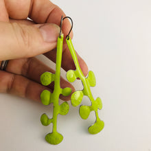 Load image into Gallery viewer, Chartreuse Matisse Botanicals Upcyled Tin Earrings by Christine Terrell for adaptive reuse jewelry