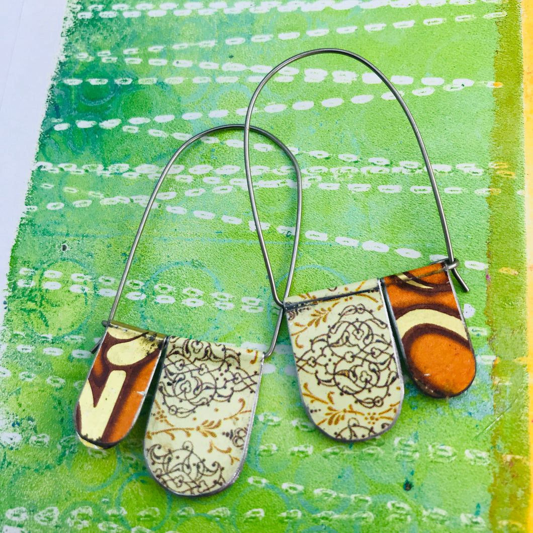 Orange Mixed Patterns Arch Dangle Tin Earrings