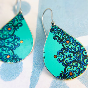 Bright Turquoise Upcycled Teardrop Tin Earrings