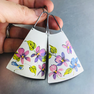 Happy Pink Violets on Snowy White Upcycled Vintage Tin Earrings
