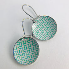 Load image into Gallery viewer, Green Herringbone on White Upcycled Tiny Dot Earrings 20th Birthday Gift