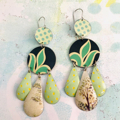 Mixed Green Leaves & Dots Zero Waste Tin Chandelier Earrings