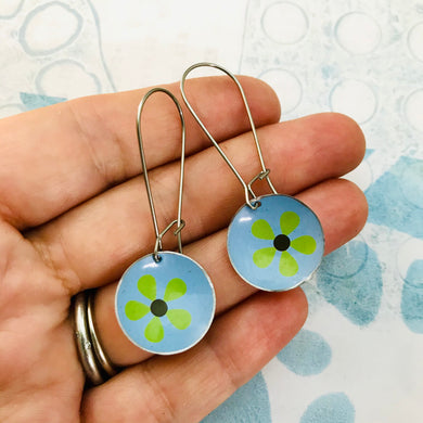 Green Mod Flowers on Blue Medium Basin Earrings