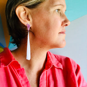 Red Wine and Long White Narrow Kites Recycled Tin Post Earrings