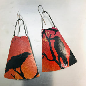 Spooky Halloween Ravens on Orange Upcycled Tin Earrings