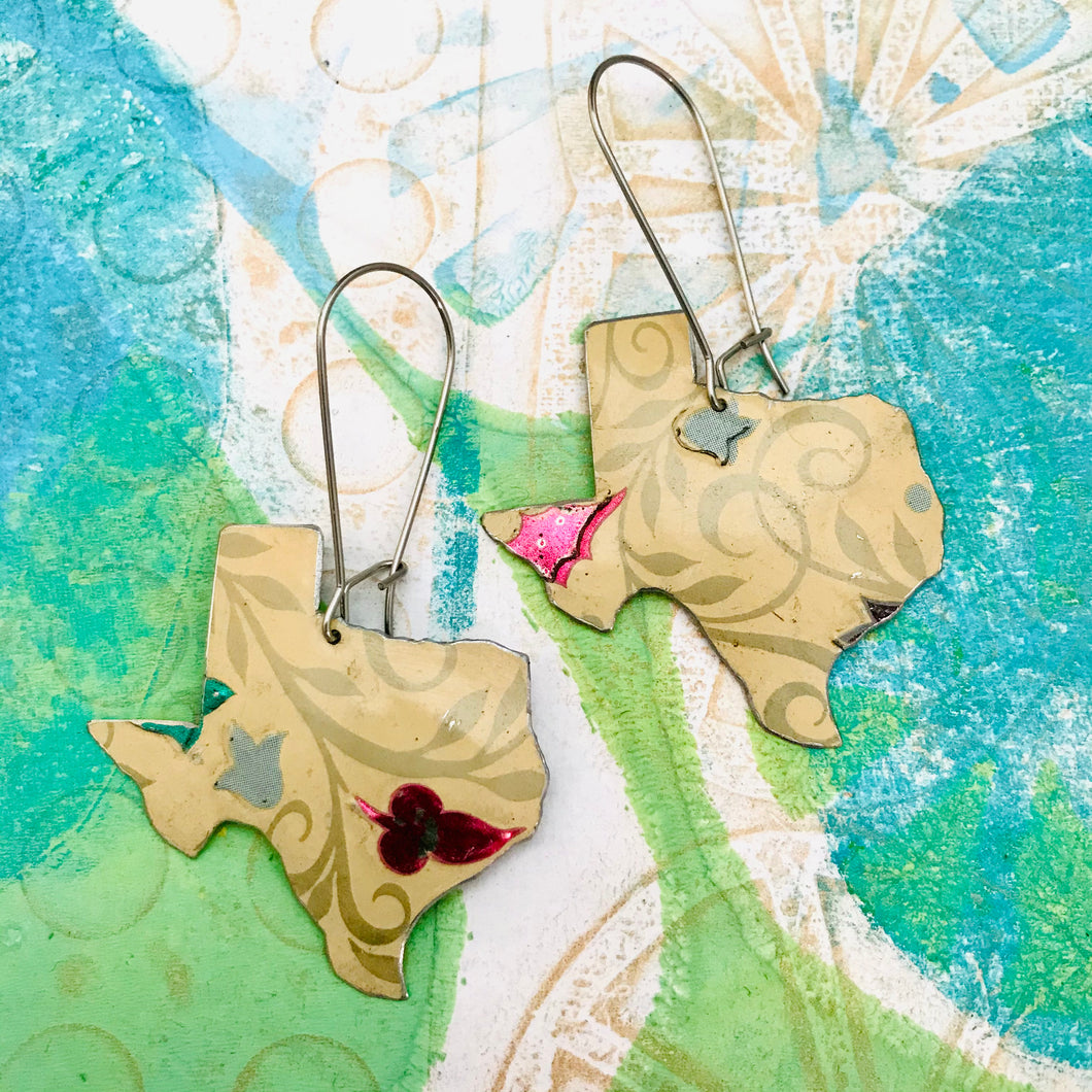 Palest Peach Texas Upcycled Tin Earrings