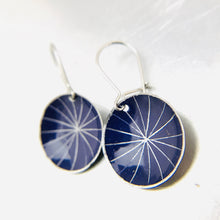Load image into Gallery viewer, Silver Starburst On Purple Tiny Dot Zero Waste Tin Earrings