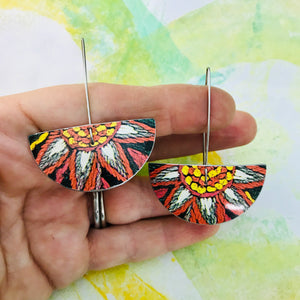 Crewelwork Semi-circle Upcycled Tin Earrings