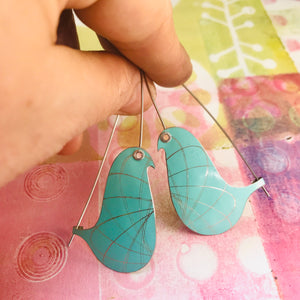 Aqua Spirograph Birds on a Wire Upcycled Tin Earrings