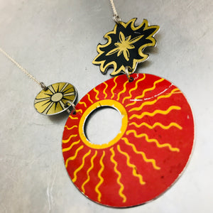 Big Red Sun Upcycled Tin Necklace