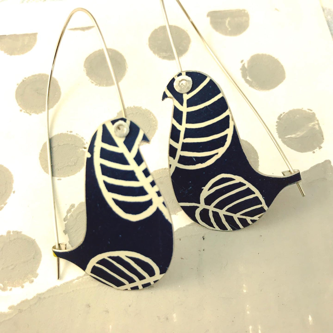 White Leaves on Deep Navy on a Wire Upcycled Tin Earrings