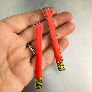 Coral with Golden Geometric Detail Long Narrow Tin Earrings