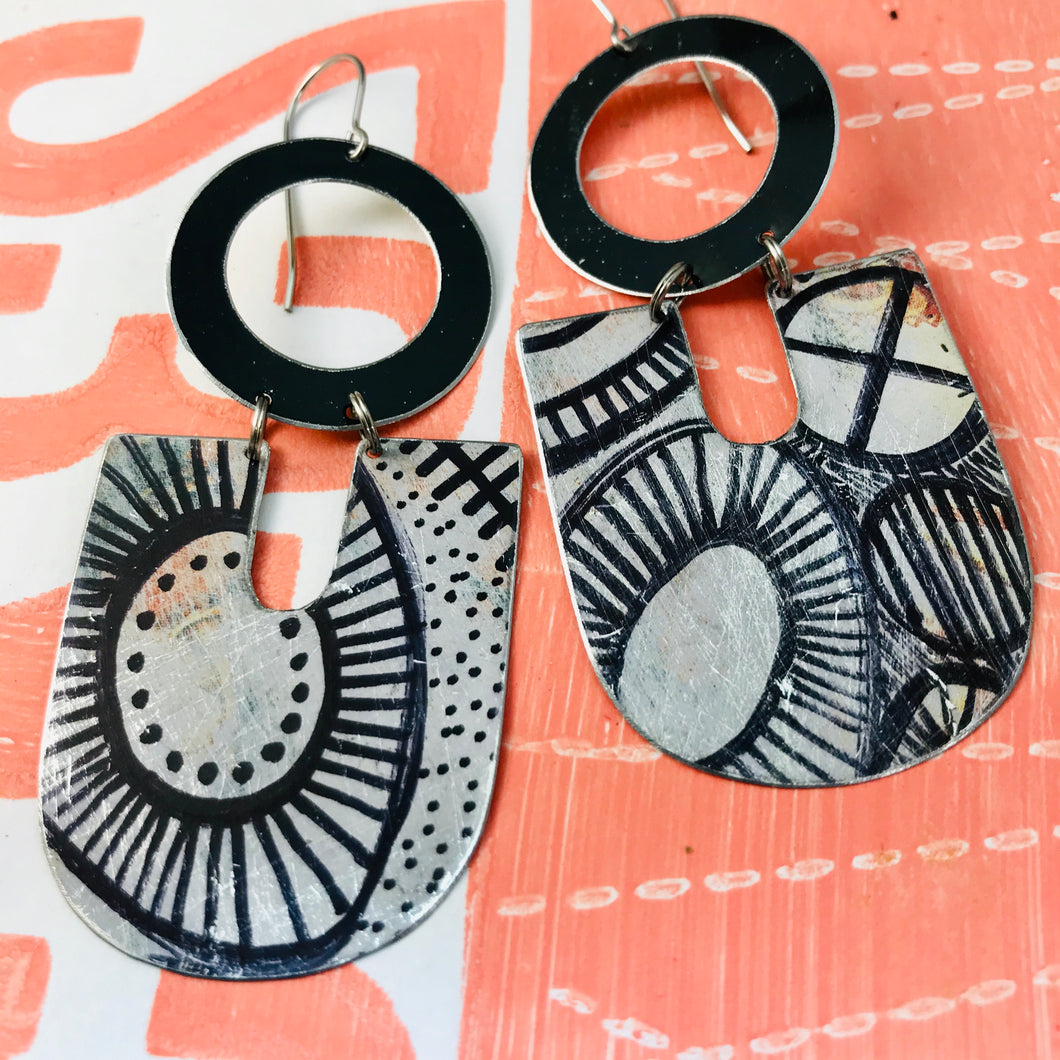 Ink Doodles Chunky Horseshoes Zero Waste Tin Earrings