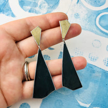 Load image into Gallery viewer, Gold and Long Black Kites Recycled Tin Post Earrings
