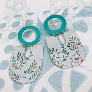 Colorful Leaves on White Chunky Horseshoes Zero Waste Tin Earrings