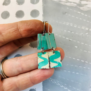 Vintage Aqua Waves Upcycled Rectangles Tin Earrings