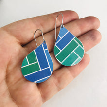 Load image into Gallery viewer, Blue & Green Subway Tile Pattern Upcycled Teardrop Tin Earrings by adaptive reuse jewelry