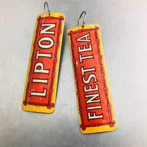 Lipton Finest Tea Upcycled Tin Earrings