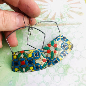 Vintage Mosaic Rectangles Zero Waste Tin Earrings