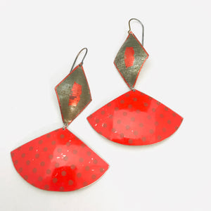 Gunmetal Diamond & Scarlet Polka Dotted Fans Upcycled Tin Fan Earrings