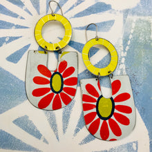 Load image into Gallery viewer, Big Red Daisy Chunky Horseshoes Zero Waste Tin Earrings