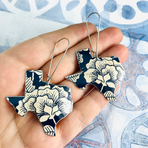 Ecru Blossoms on Midnight Blue Texas Upcycled Tin Earrings