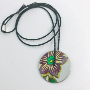 Vintage Purple Flower & Green Leaves Circle Upcycled Tin Flip-Flop Necklace