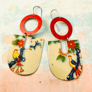 Birds & Blossoms Chunky Horseshoes Zero Waste Tin Earrings