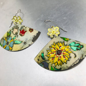 Vintage Flowery Fans Upcycled Tin Earrings