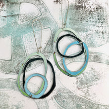 Load image into Gallery viewer, Pale Green, Forest & Sky Scribbles Upcycled Tin Earrings