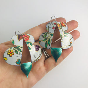 Vintage Green Leaves Abstract Butterflies Upcycled Tin Earrings