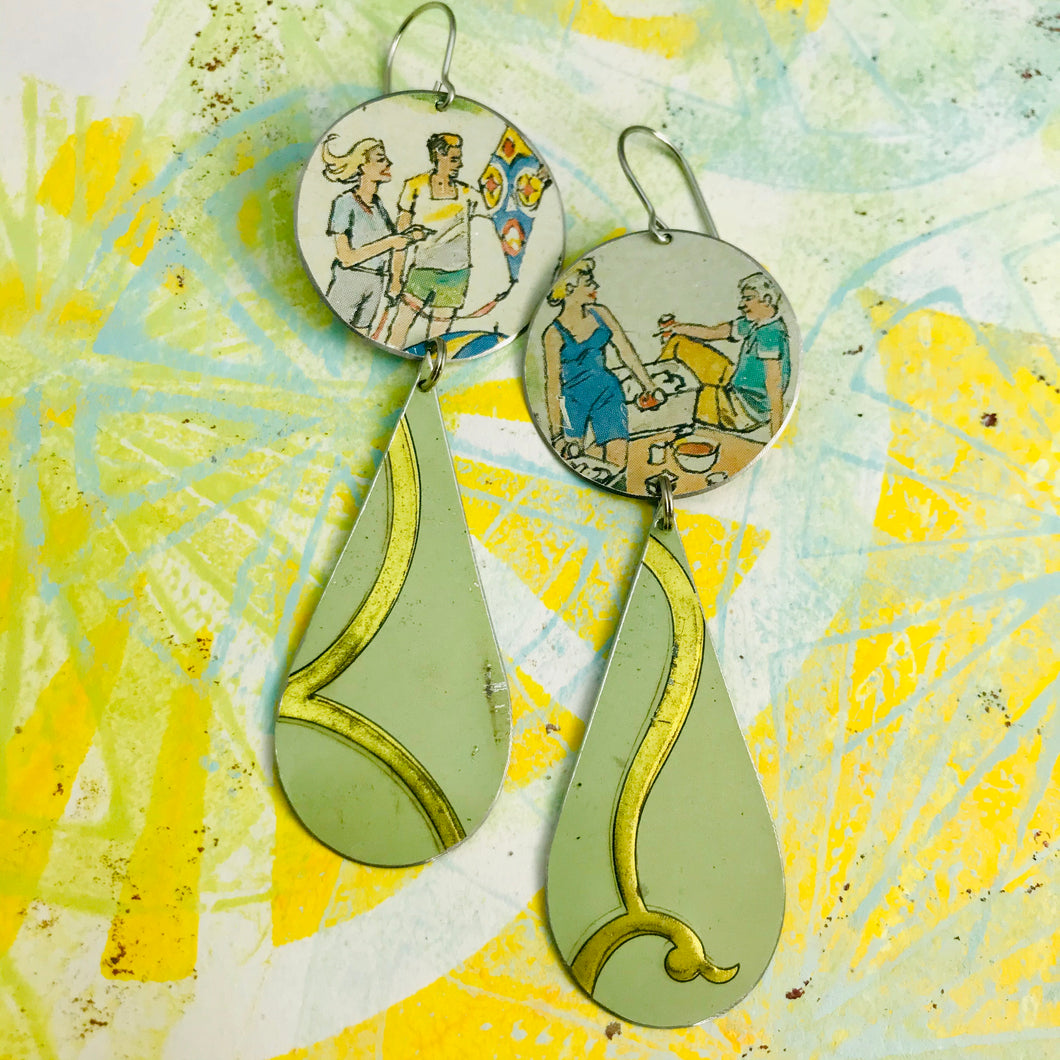 Kite Flying & Picnics Upcycled Tin Long Teardrop Earrings