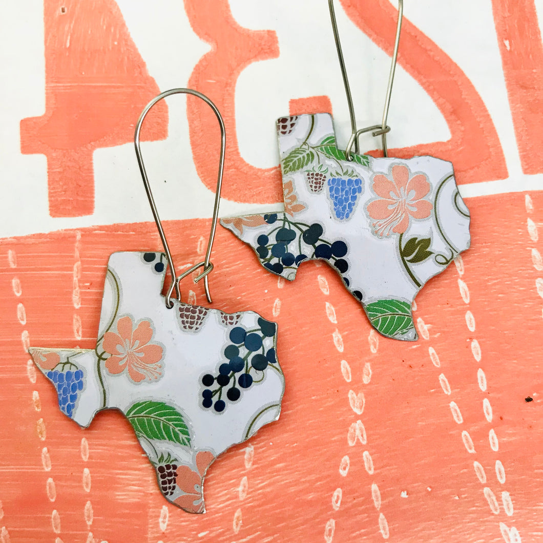 Flowers & Grapes Texas Roses Upcycled Tin Earrings