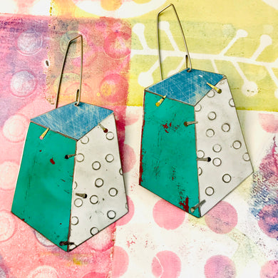 Edifice Turquoise Upcycled Tin Earrings