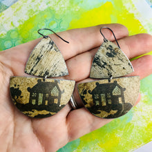 Load image into Gallery viewer, Japanese House Oxidized Sailboats Upcycled Tin Earrings