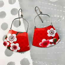Load image into Gallery viewer, Cherry Blossoms on Red Zero Waste Tin Earrings