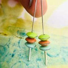 Load image into Gallery viewer, Spring Green, Orange, Aqua Tiny Macarons Tin Earrings