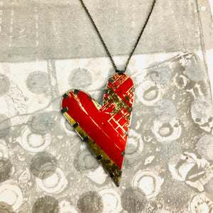 Tabbed Tin Heart Recycled Red & Gold Necklace