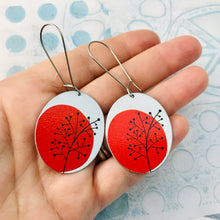 Load image into Gallery viewer, Mod Red Trees Oval Zero Waste Tin Earrings