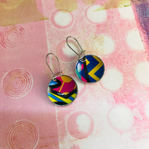 Bright Patterns Hot Pink, Cobalt Upcycled Tiny Dot Earrings