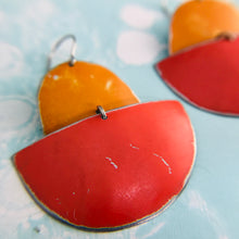 Load image into Gallery viewer, Persimmon & Cerise Boats Upcycled Tin Earrings