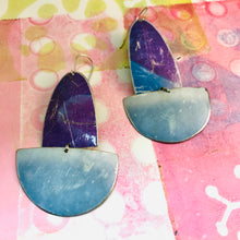 Load image into Gallery viewer, Rustic Purples and Gray Blues Upcycled Tin Boat Earrings