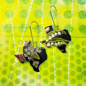 Wildflowers on Black Upcycled Tin Earrings